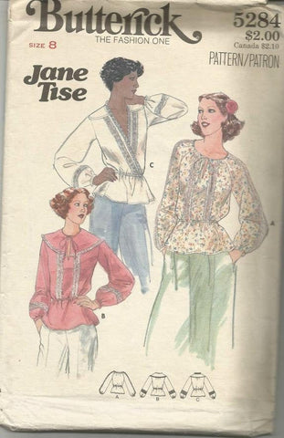 1970s Boho Peasant Blouses Tops Three Styles by Jane Tise Butterick 5284 UNCUT FF Bust 31.5 Women's Vintage Sewing Pattern