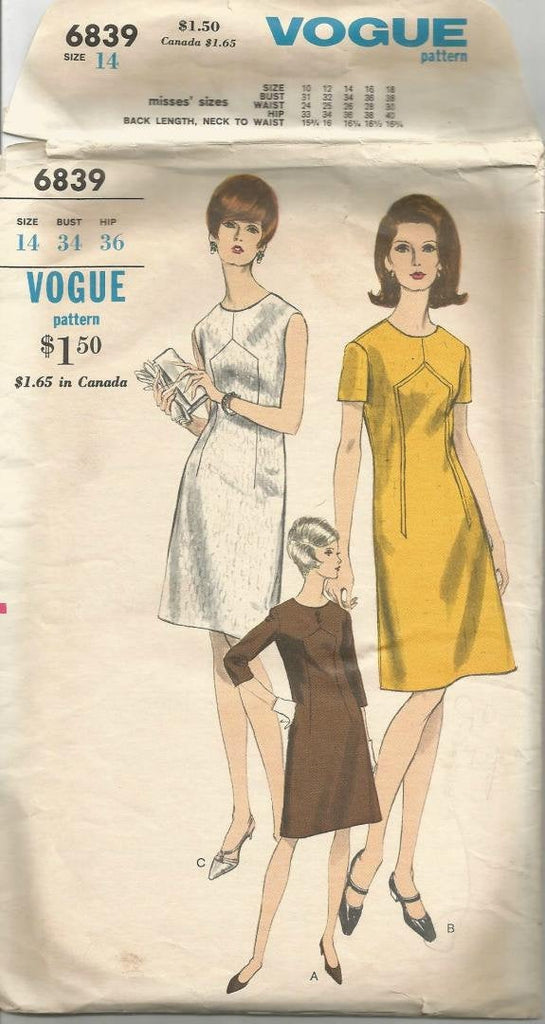 1960s A-Line Dress Jewel Neckline Sleeve Variations Vogue 6839 Bust 34 Women's Vintage Sewing Pattern