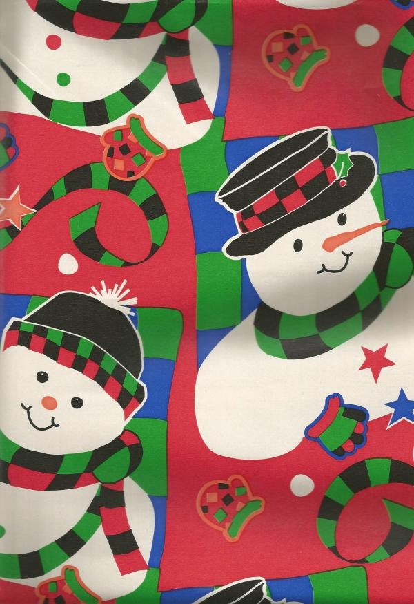 1990s Snowmen Colorful Cleo Christmas Wrapping Paper One Flat Oversized Sheet Christmas Gift Wrap