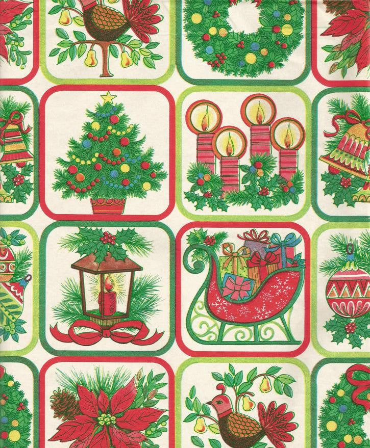 Vintage Christmas Wrapping Paper Christmas Tree Lantern Sleigh Partridge Candle One Flat Sheet Christmas Gift Wrap