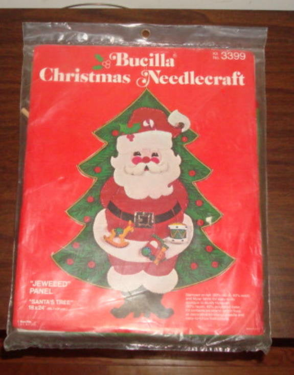 "Bucilla Christmas Needlecraft Jeweled Panel ""Santa's Tree"" Santa Claus in Front of Christmas Tree UNUSED UNOPENED"