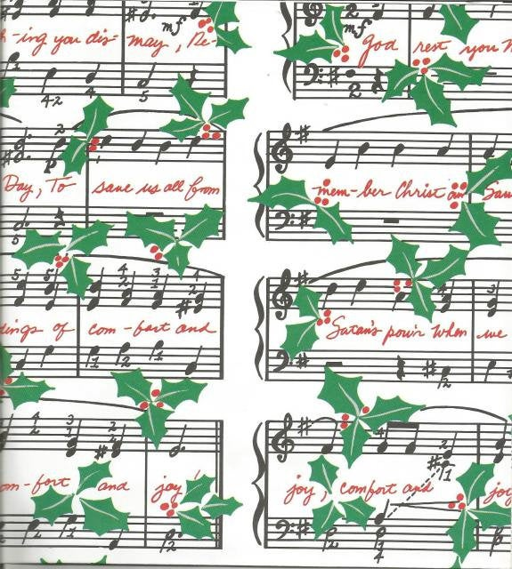 Christmas Wrapping Paper God Rest Ye Merry Gentlemen Musical Notes Christmas Gift Wrap One Flat Sheet