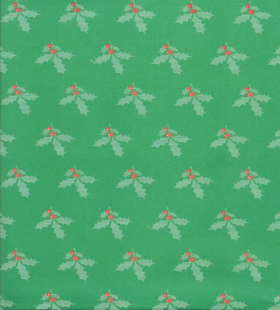 Christmas Wrapping Paper Holly and Berries on Green One Flat Sheet Christmas Gift Wrap