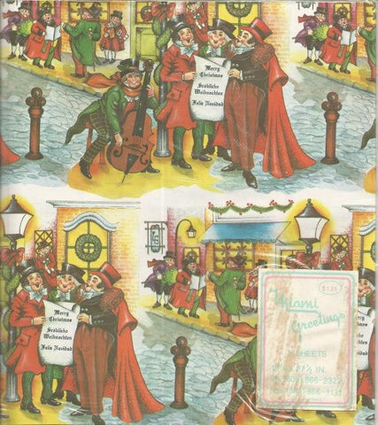 Christmas Wrapping Paper Victorian Christmas Scene Carolers Two Flat Sheets Christmas Gift Wrap