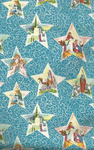Vintage Christmas Wrapping Paper Stars on Blue Nativity Scene Angels Wisemen Shepherds One Flat Sheet MCM Christmas Gift Wrap