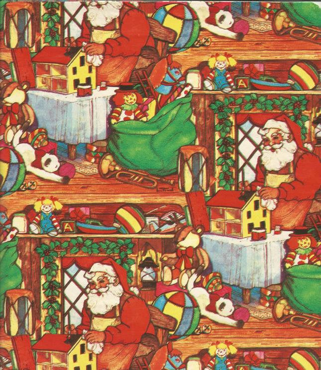 Santa's Workshop Christmas Gift Wrap Toys  Christmas Wrapping Paper One Flat Sheet
