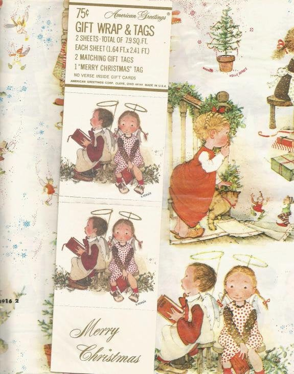 Vintage Christmas Wrapping Paper Children Before Christmas Children with Halos Holly Hobbie Unopened Package 2 Flat Sheets
