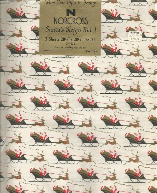 Vintage MCM Christmas Wrapping Paper Santa's Sleigh Ride Original Package Two Flat Sheets Norcross Vintage Christmas Gift Wrap