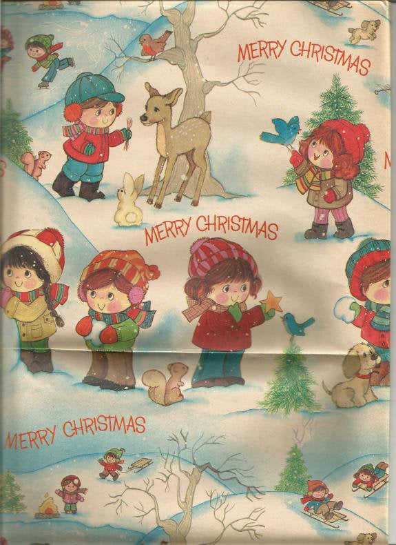 Vintage Christmas Wrapping Paper Children in Woods Woodlands Animals One Flat Sheet Vintage Christmas Gift Wrap