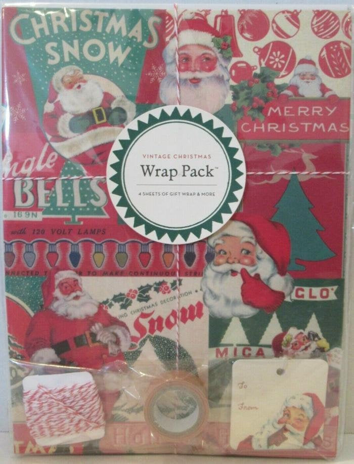New Retro Christmas Gift Wrap Wrap Pack Unopened Vintage Style Santa Ornaments Snow Bikes Paper String Tags Tape