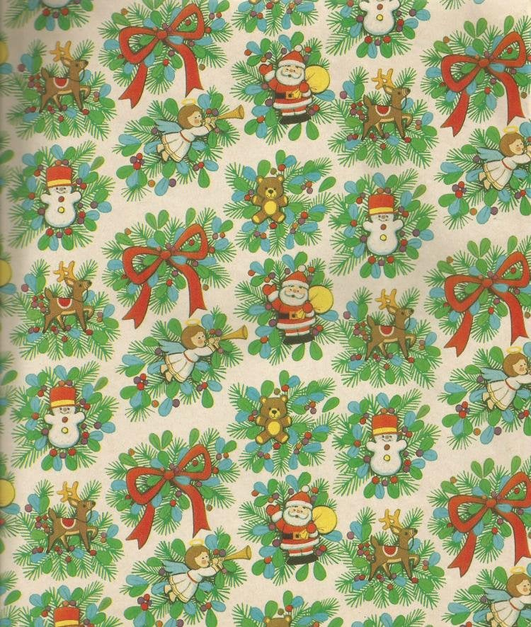 Vintage Christmas Gift Wrap Blue Mistletoe Berries Pine Leaves Toys Santa Vintage Christmas Wrapping Paper