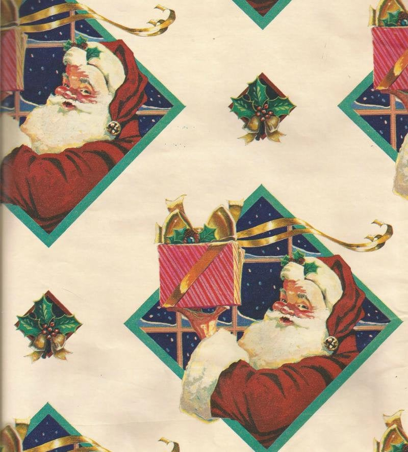 Vintage Christmas Gift Wrap Santa Holding Christmas Present Diamond Shaped Window Colorful Christmas Wrapping Paper One Flat Sheet
