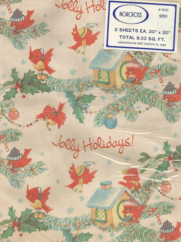 Vintage 1950s - 1960s Norcross Christmas Gift Wrap NOS Two Sheet Packet Redbirds Birdhouses Holly & Berries Vintage Christmas Wrapping Paper