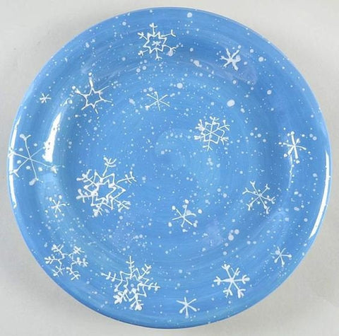 Winter Snowfall Dinner Plates Set of Four Pale Blue with Painted Snowflakes Holiday Table Winter Cabin Decor Table Decor Set 1