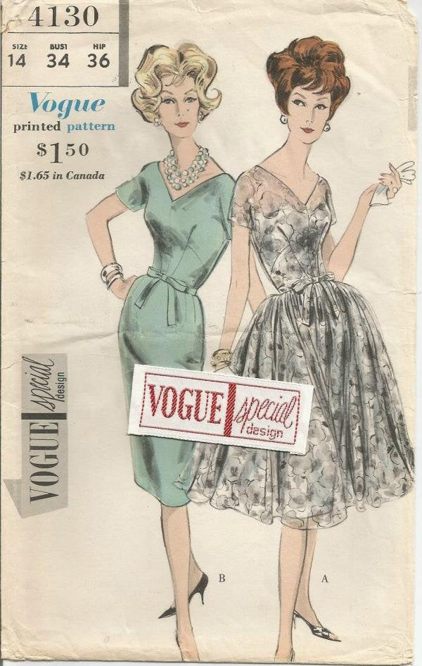 1960s UNCUT Cocktail Dinner Dance Dress Sheath or Bouffant Skirt V Neckline Vogue 4130 Bust 36 FF & Label Women's Vintage Sewing Pattern