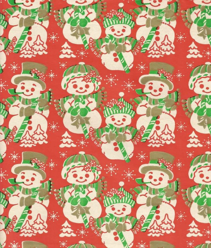Vintage 1950s - 1960s Christmas Wrapping Paper Tuttle Press Snowman Family One Flat Sheet Vintage Christmas Gift Wrap