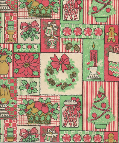 Vintage 1960s Cleo Christmas Wrapping Paper Christmas Candy Christmas Foods Christmas Motifs One Flat Sheet