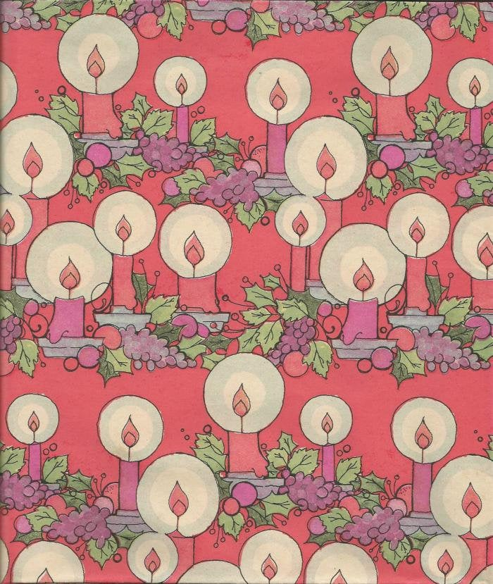 Vintage 1960s Cleo Christmas Wrapping Paper Christmas Candles Pink Candles One Flat Sheet