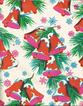 Vintage Late 1960s Ben Mont Christmas Wrapping Paper Mod Christmas Bells Hot Pink & Red One Flat Sheet Vintage Christmas Gift Wrap