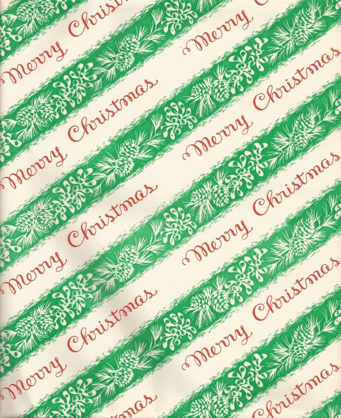 Vintage 1950s - 1960s Ben Mont Christmas Wrapping Paper Merry Christmas Mistletoe Pine Cones One Flat Sheet Vintage Christmas Gift Wrap