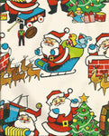 Vintage 1960s Ben Mont NOS Christmas Wrapping Paper Colorful Santa Claus on Christmas Eve One Flat Sheet Vintage Christmas Gift Wrap