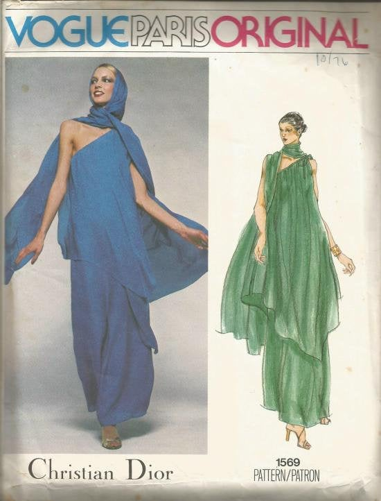 1970s Evening Dress One Shoulder with Stole Handkerchief Hem Christian Dior Vogue 1569 Bust 36 Women's Vintage Sewing Pattern