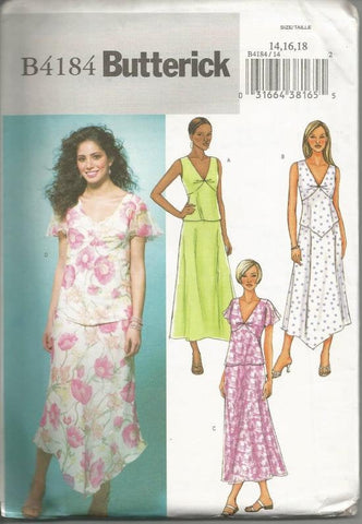 Mix & Match Tops Skirts Sewing Pattern Sleeveless Flutter Sleeve Handkerchief Straight Hem Butterick 4184 Uncut Sz 14,16,18 Bust 36-40