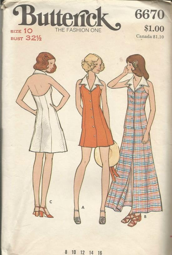 1970s Halter Sundress Mini Maxi or Above Knee Front Buttoning Flared Skirt Butterick 6670 UNCUT FF Bust 32.5 Women's Vintage Sewing Pattern