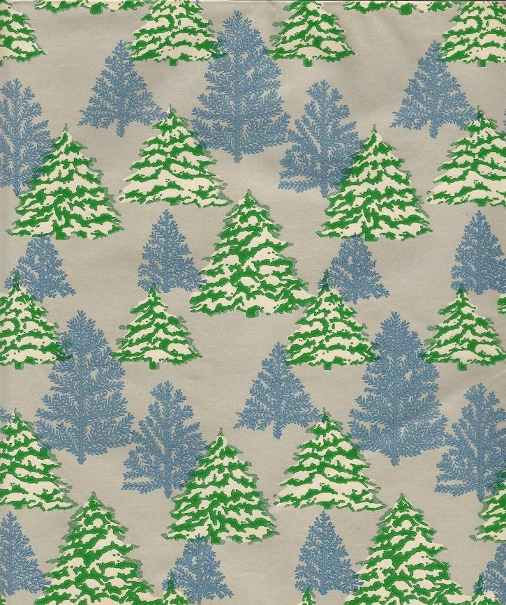 Vintage Christmas Wrapping Paper Snow Covered Pines Blue Spruce? One Flat Sheet Vintage Christmas Gift Wrap