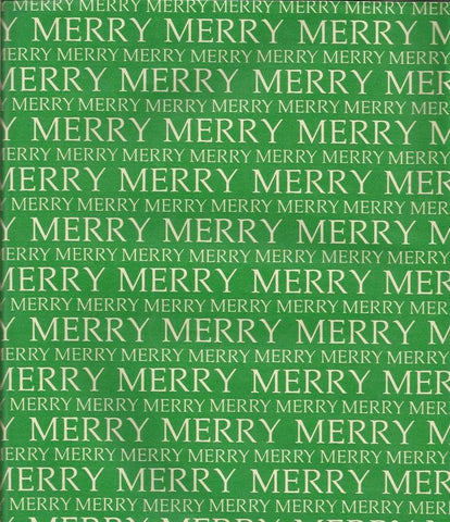 Vintage Christmas Wrapping Paper Merry Merry on Green One Flat Sheet Vintage Christmas Gift Wrap