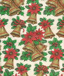 Vintage Christmas Wrapping Paper Christmas Bells Poinsettias Holly & Berries One Flat Sheet Vintage Christmas Gift Wrap