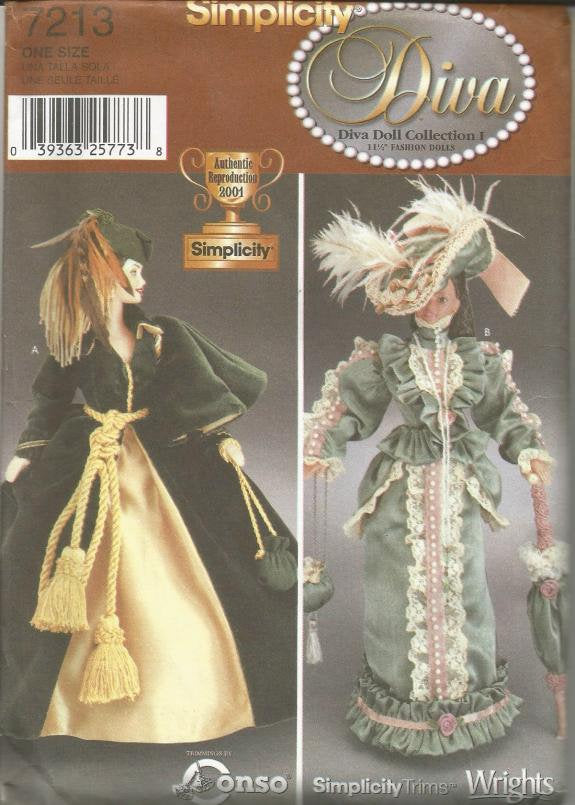 Diva Doll Collection Civil War Gown Victorian Walking Suit Fits 11.5 Inch Dolls Such as Barbie Simplicity 7213 UNCUT FF Doll Clothes Pattern