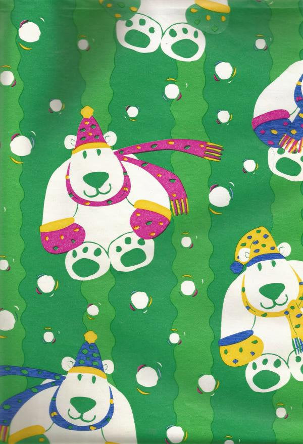 Vintage Christmas Wrapping Paper by Cleo Polar Bears Vintage Christmas Gift Wrap Christmas Decoration