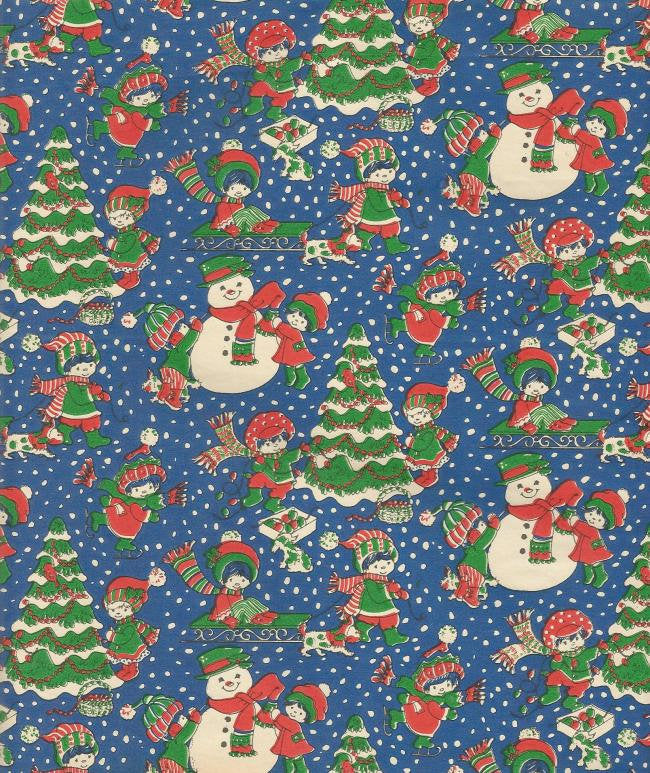 Vintage Woolworth Christmas Wrapping Paper Children in the Snow Pine Trees Snowmen Vintage Christmas Gift Wrap Christmas Decor
