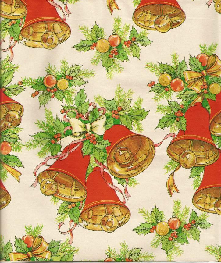 Vintage Christmas Wrapping Paper Christmas Bells Holly & Berries One Flat Sheet Christmas Gift Wrap