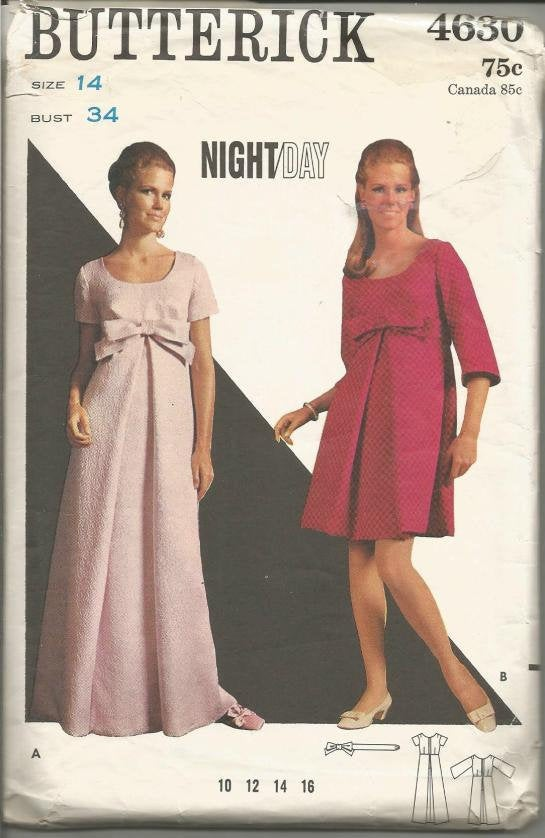 1960s Mod Evening or Day Dress Scoop Neck Sleeve Variations Front Pleat Butterick 4630 Bust 34 Women's Vintage Sewing Pattern