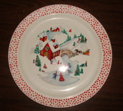 Old Fashioned Christmas Scene Christmas Dessert or Salad Plates Set of Four Stoneware Christmas Table Christmas Decor