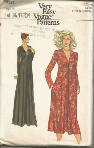 1970s V Neckline Evening or Day Dress Long Sleeves Back Zip Easy to Sew Vogue 9921 UNCUT FF Bust 32.5 Women's Vintage Sewing Pattern