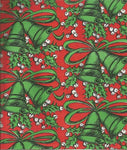 Vintage Christmas Wrapping Paper Green Christmas Bells on Red One Flat Sheet Vintage Christmas Gift Wrap