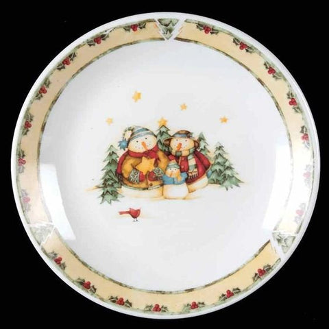 Christmas Dessert or Salad Plates Snowman Family Yellow Rim SNOWMAN FROLIC by Gibson Christmas Dinner Christmas Decor