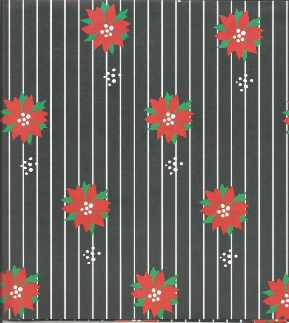 Christmas Wrapping Paper Poinsettias on Black One Flat Sheet Christmas Gift Wrap