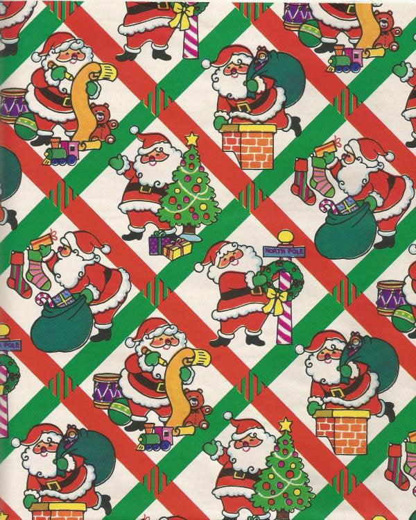 Vintage Artfaire Christmas Wrapping Paper Colorful Santa Claus One Flat Sheet Vintage Christmas Gift Wrap