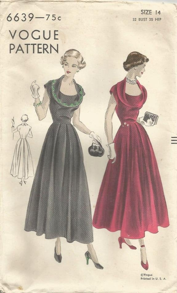 1940s Cocktail Dinner Dress Dramatic Draped Collar Cap Sleeves Vogue 6639 Size 14 Bust 32 Women's Vintage Sewing Pattern - Kinseysue's Shop