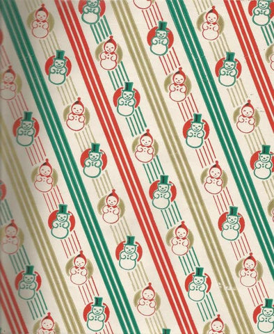 Vintage Christmas Wrapping Paper Snowman Snowwoman Diagonal Stripes One Flat Sheet Vintage Christmas Gift Wrap