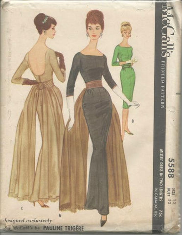 1960s Evening or Cocktail Sheath McCall's 5588 Uncut FF Bust 32