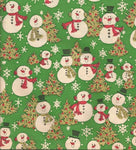 Vintage Cleo Christmas Wrapping Paper Snowmen with Pink Earmuffs, Scarves, Gold Trees Christmas Gift Wrap One Flat Sheet