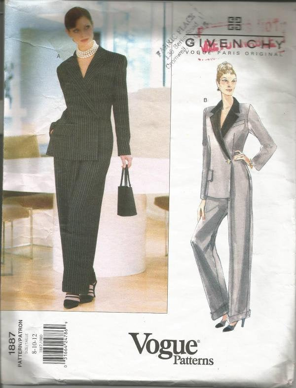 1990s John Galliano for Givenchy Mock Wrap Jumpsuit Straight Leg Pants Vogue 1887 UNCUT FF Sizes 8-10-12 Womens Vintage Sewing Pattern