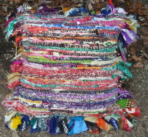 "Rag Rug Pillow Cover Colorful & Cute 18"" Square Home Decor Home Decoration"