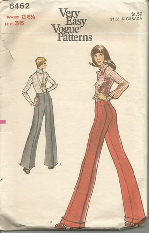 1970s Wide Leg Straight Leg Pants with or without Cuffs Very Easy to Sew Vogue 8462 Waist 26.5 Women's Vintage Sewing Pattern