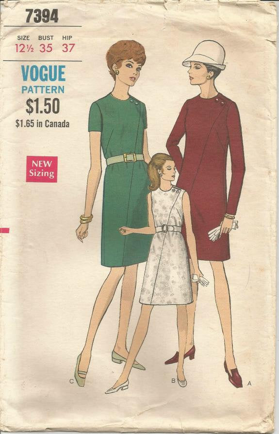 1960s One Piece Dress Dramatic Asymmetrical Seaming Sleeve Variations Vogue 7394 Bust 35 Women's Vintage Sewing Pattern
